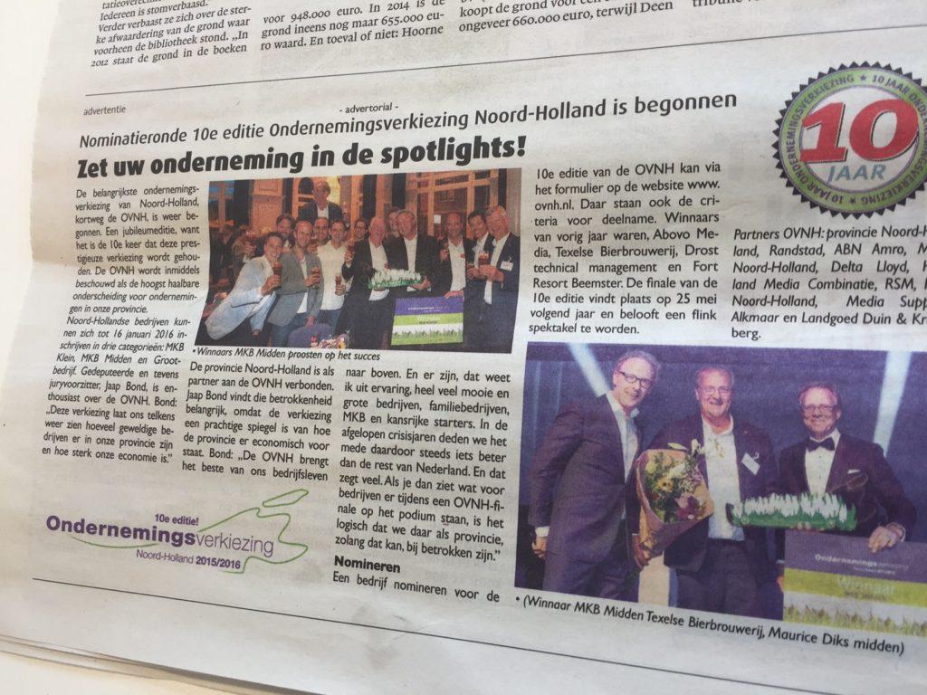 OVNH in alle edities Noordhollands Dagblad